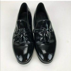 Aldo Men 12 Black Dress Shoes Loafers Mid Tassels